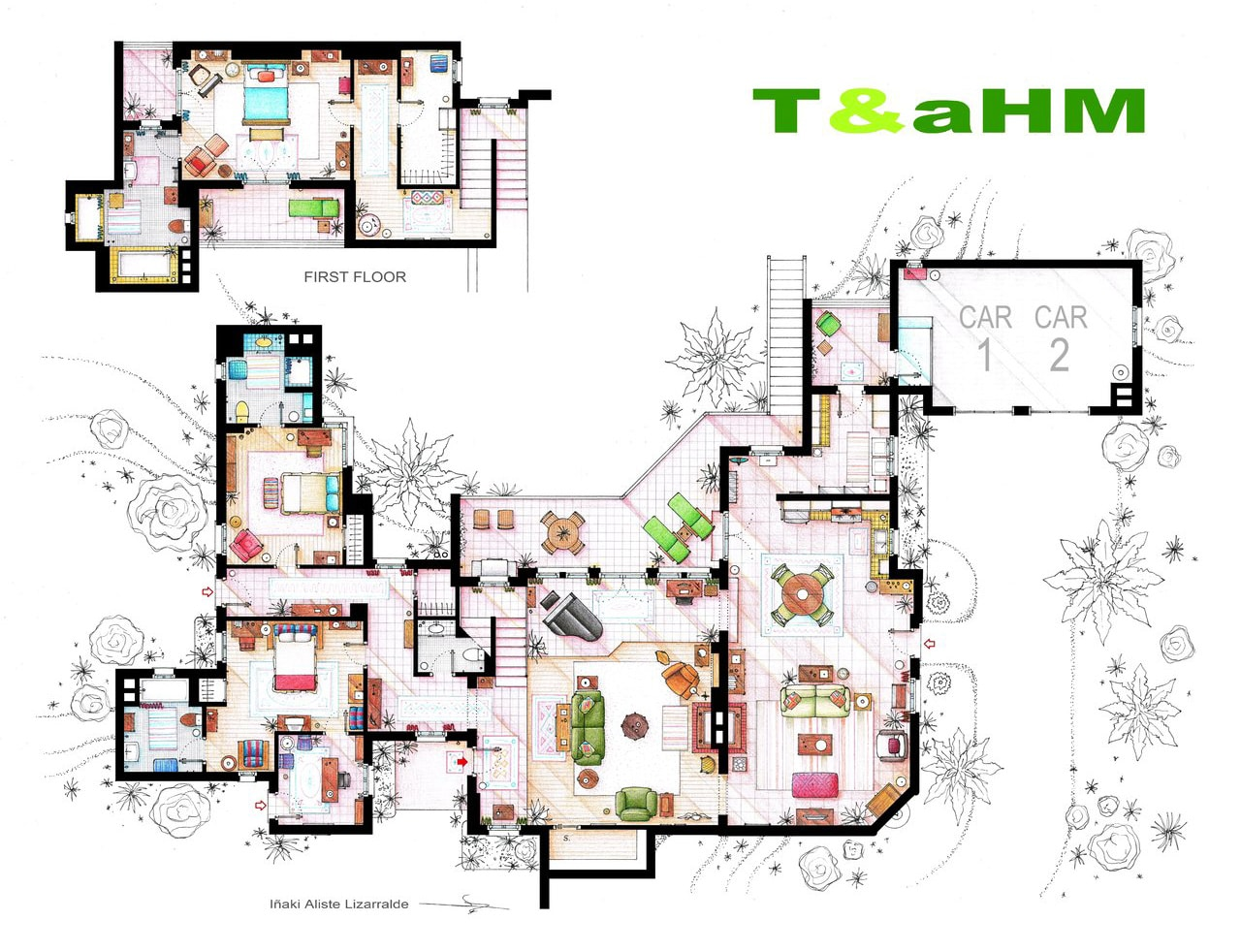artsy architectural apartment floor plans from tv shows 9