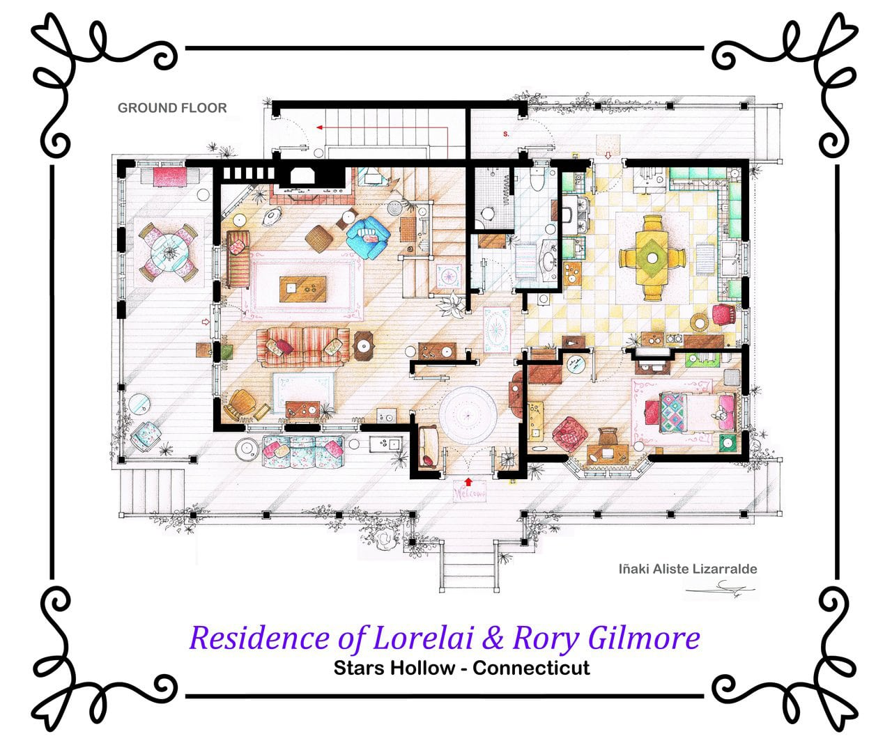 Artsy architectural apartment floor plans from tv shows 9 for Famous building blueprints