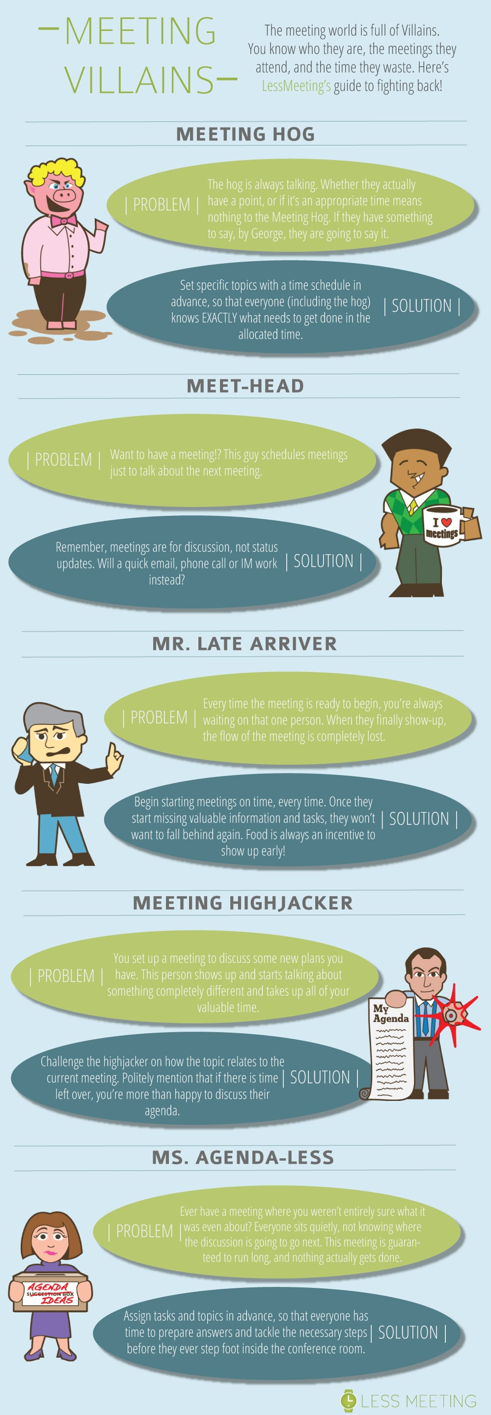 5 Kinds Of Business Meeting Villains Who Waste Your Time [Infographic]