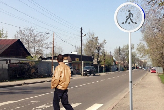 Solar Powered Glass Crosswalk Sign Mixes Sci-Fi With Reality