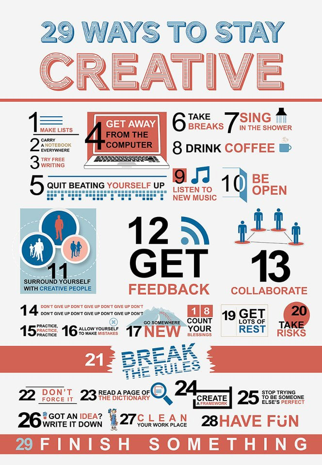 29 Ways To Keep Your Creative Juices Flowing Every Day [Chart]