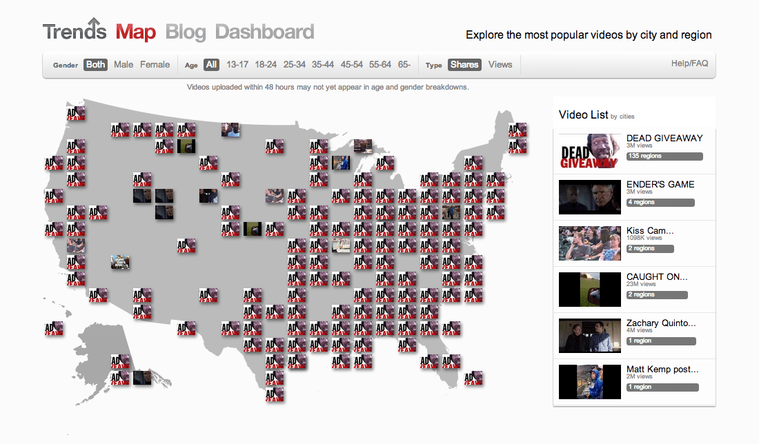 YouTube Introduces Realtime Trends Map For Viral Videos