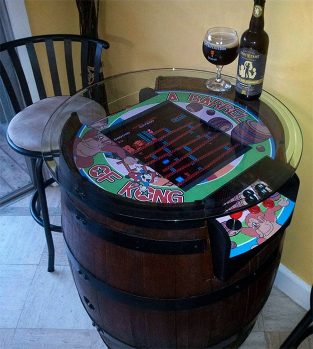 Handcrafted Donkey Kong Barrel Game Is Perfect For A Retro Happy Hour
