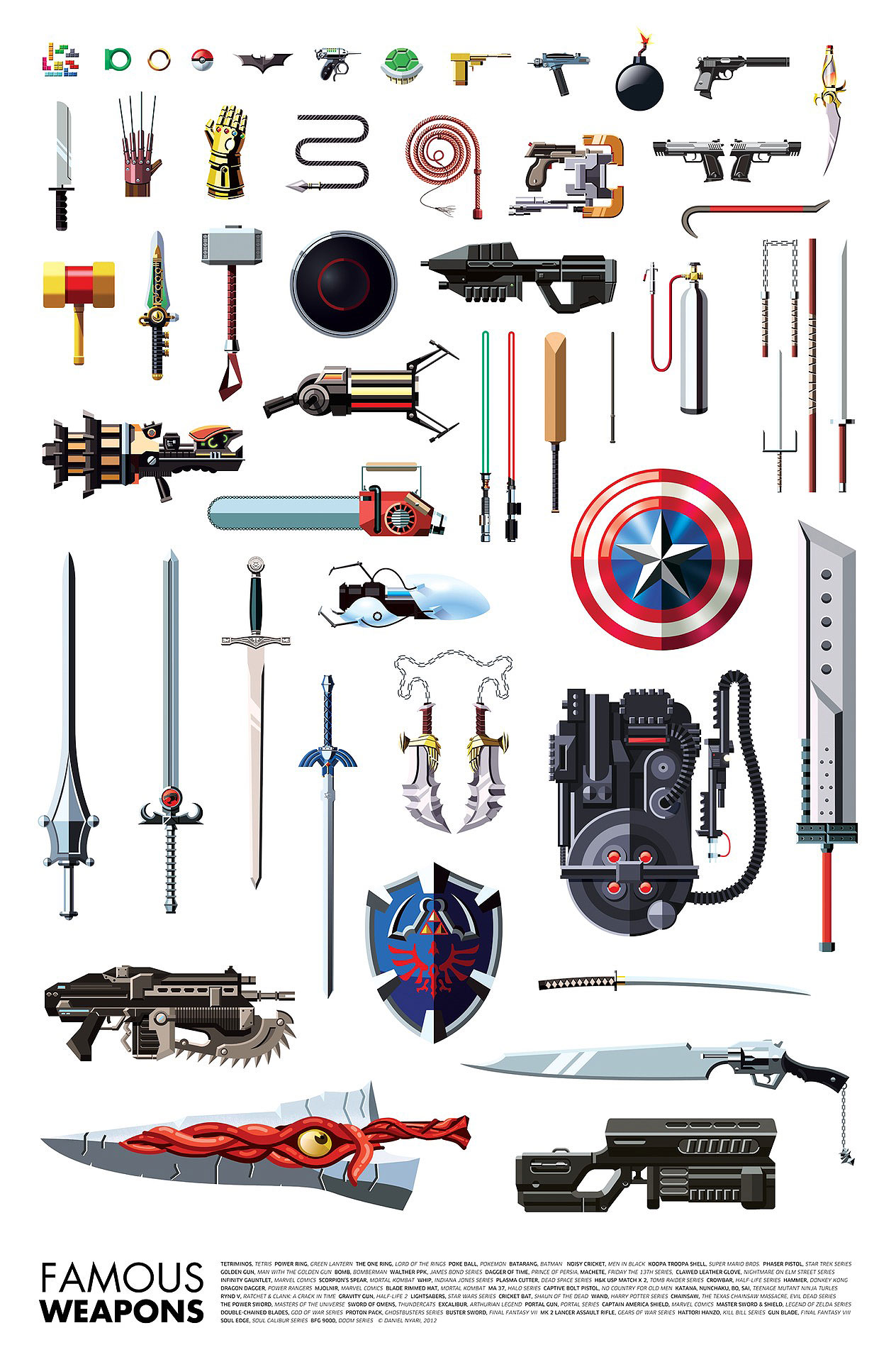 Famous Weapons Used By Your Favorite Superheroes & Villains [Chart]
