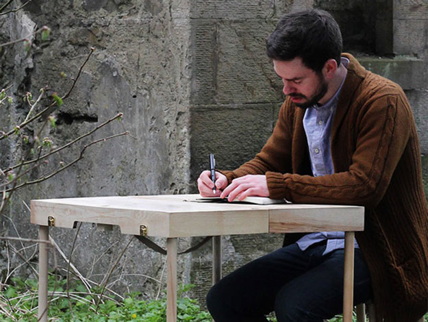 Small Suitcase Transforms Into An Office Desk With Two Stools & A Lamp
