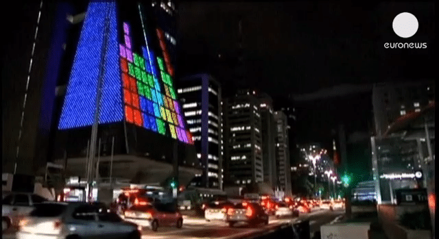 Building Facade Becomes Huge Retro Arcade Gaming Screen In Brazil