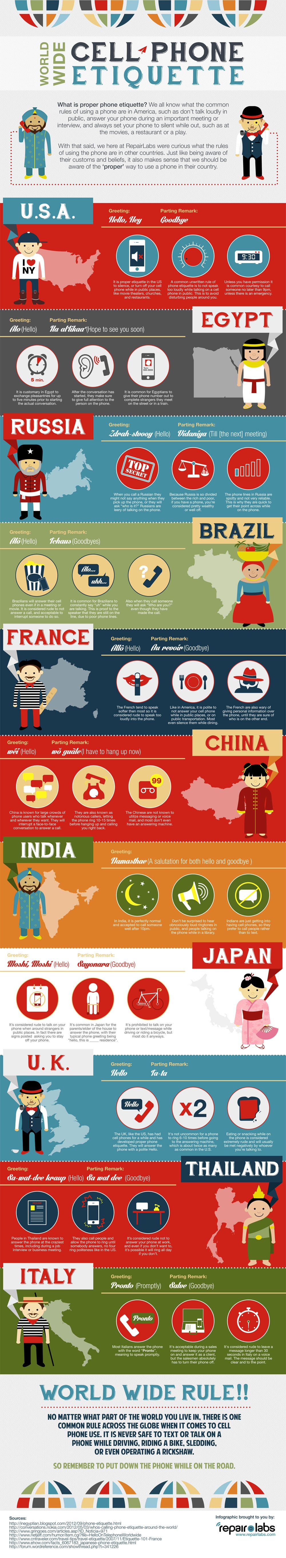 How Cell Phone Etiquette Is Different Around The World [Infographic]