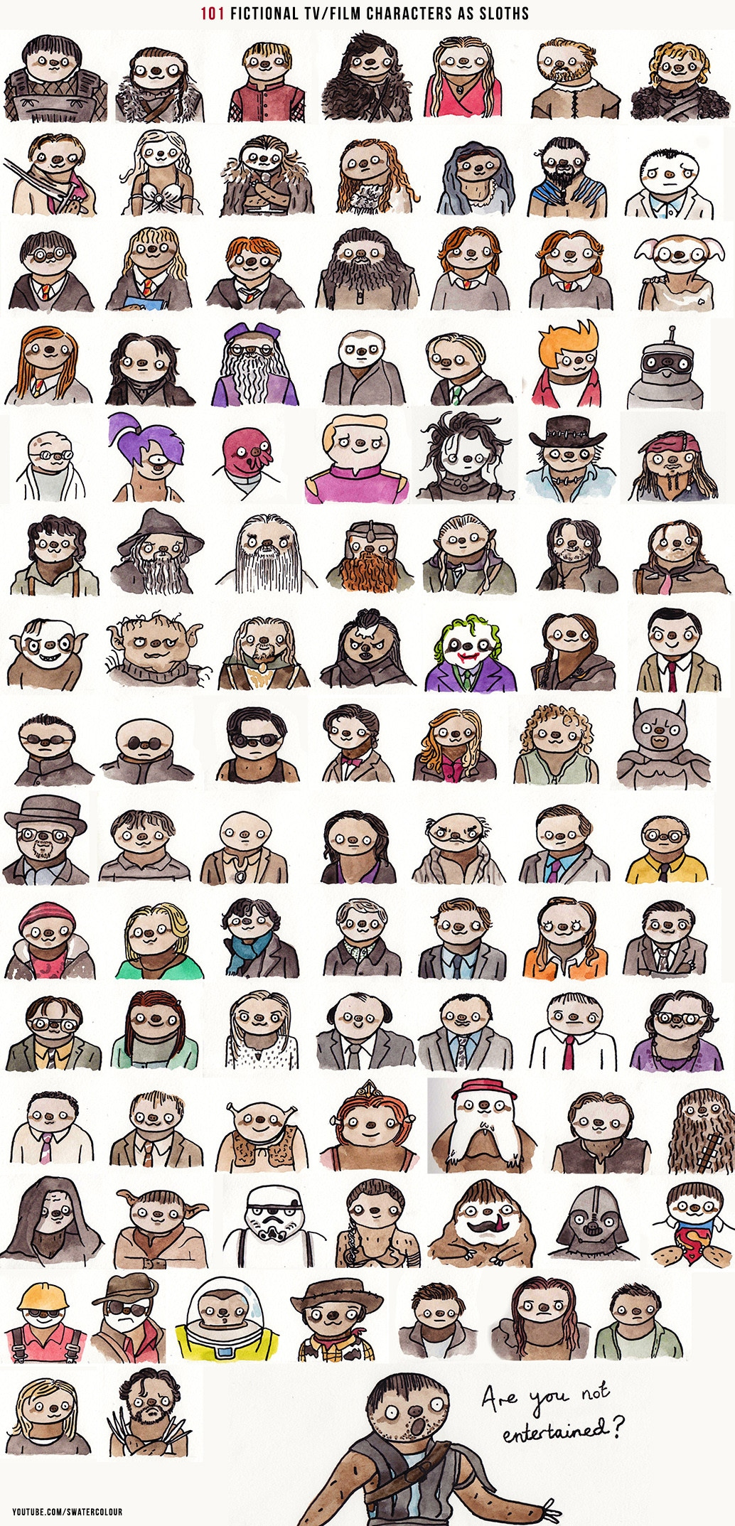 101 Geeky Movie And TV Characters Hand Painted As Mini Sloths [Chart]