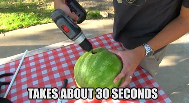 How To Make A Watermelon Smoothie With A Drill And A Coat Hanger