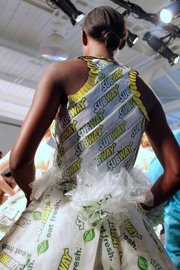 Couture Dresses Made From Subway Sandwich Wrappers And Napkins