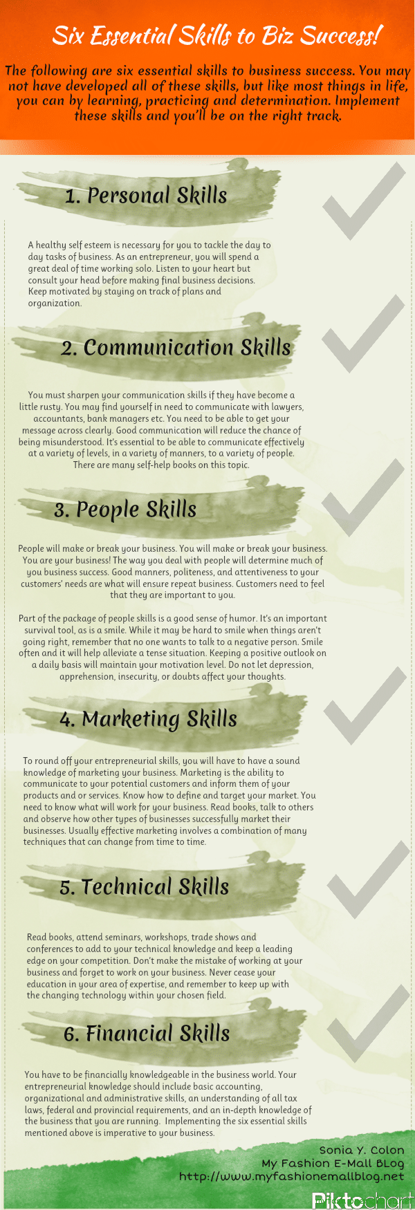 6 Skills Business Success Infographic