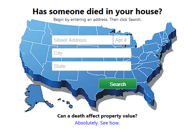 Died In House Website Tells Homeowners If Someone Died In Their House