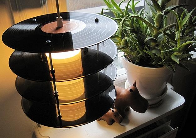 Old School Vinyl Records Recycled Into Nostalgic Retro Lamps