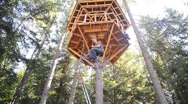 Pedal-Powered Bicycle Treehouse Elevator Takes You Up In Style