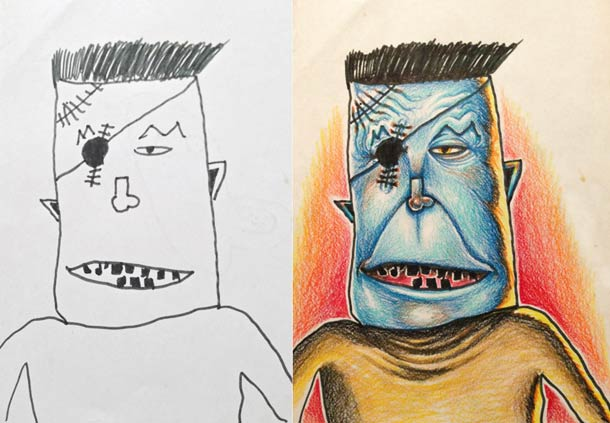 Father Turns His Kid's Doodles Into Awesome & Beautiful Art