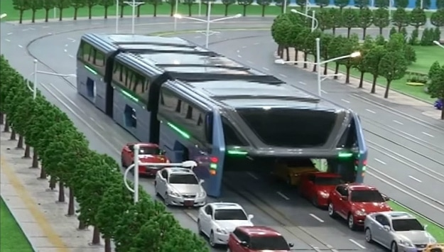 Elevated Bus Concept Travels Above Traffic Jams