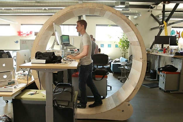 These Guys Built The Ultimate Human Hamster Wheel Standing Desk