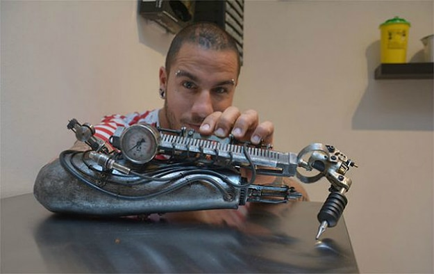 French Artist Gets A Prosthetic Arm That's A Tattoo Machine
