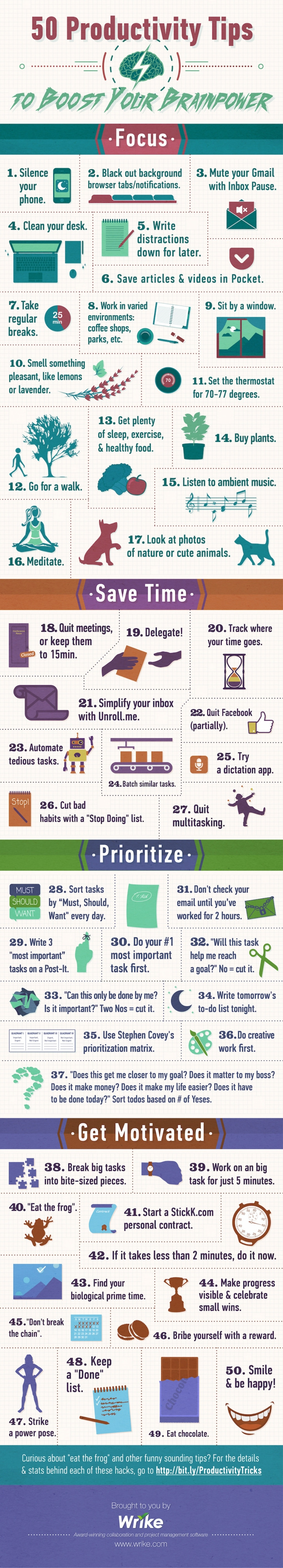 50 Productivity Tips Brainpower Infographic