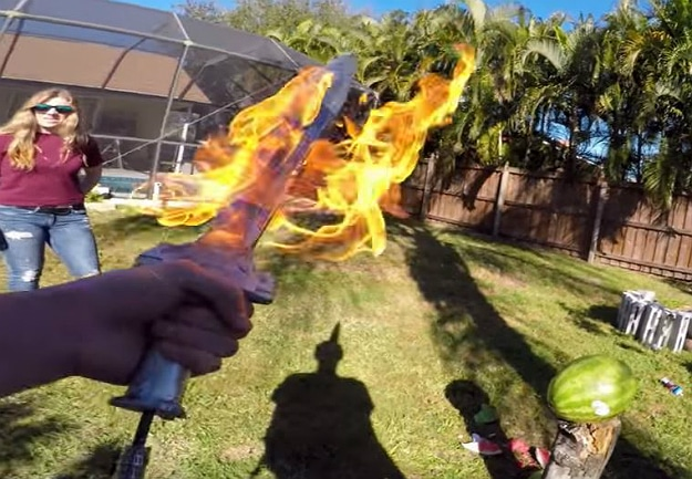 Backyard Scientist Creates An Aluminum Flaming Sword