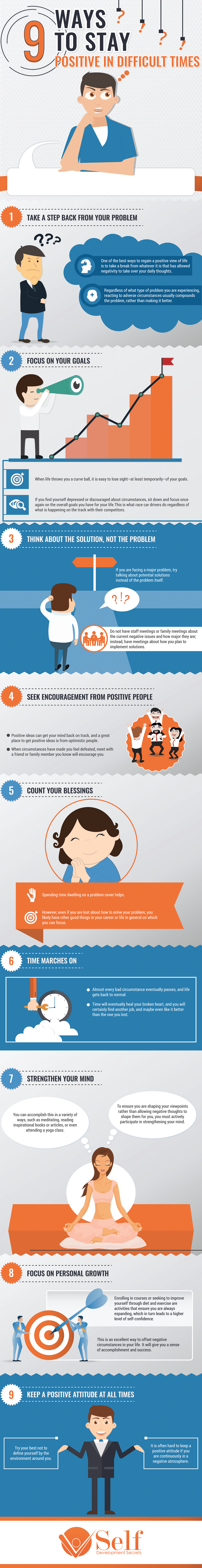 9 Ways To Stay Positive During Difficult Times [Infographic]