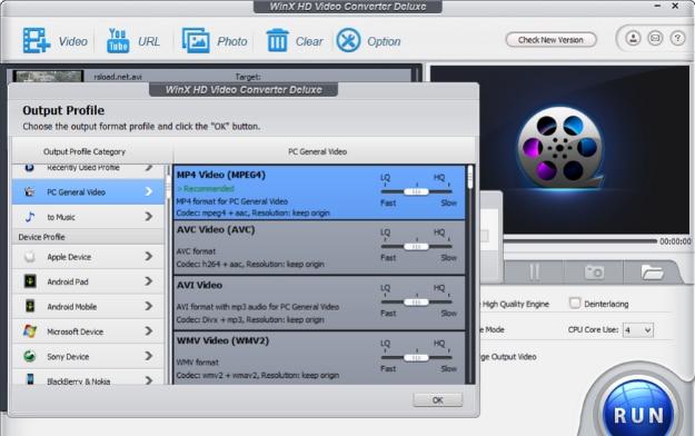WinX HD Video Converter Interface