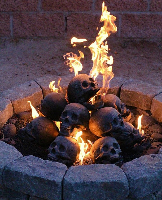These Freakishly Real Gas Fireplace Skull Logs Are The Perfect Nightmare Fuel