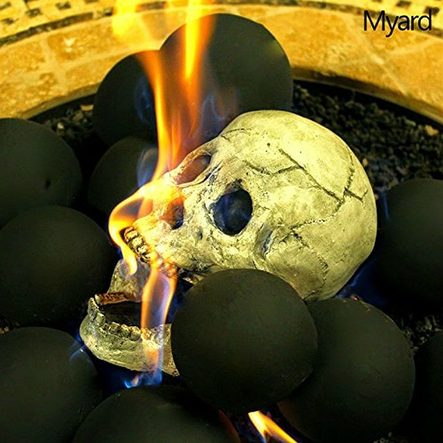 Myard Human Gas Fireplace Skull Logs