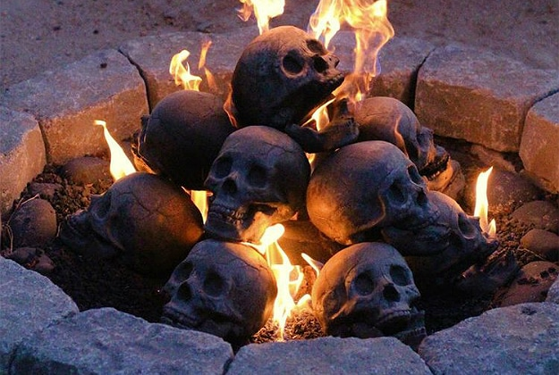 Human Gas Fireplace Skull Logs Header