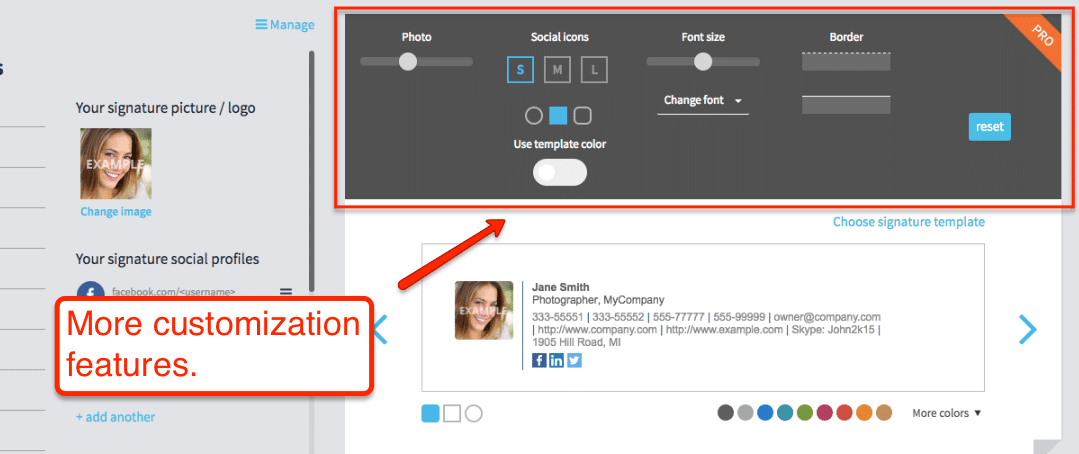 WiseStamp Email Signature Customization Image