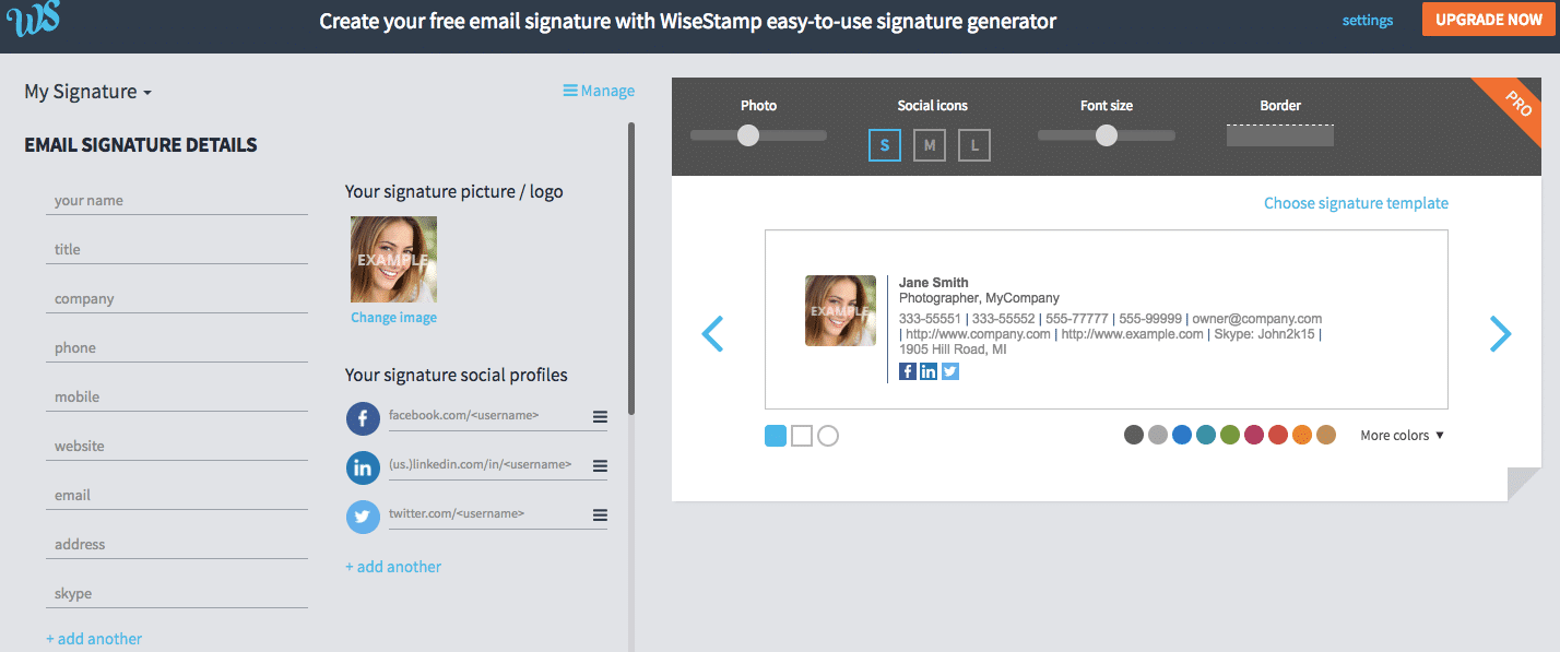 WiseStamp Review Web Editor Image