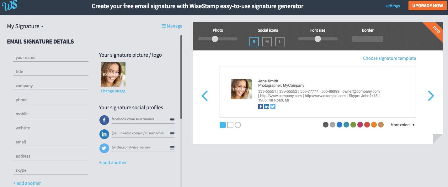 WiseStamp Review Web Editor Image