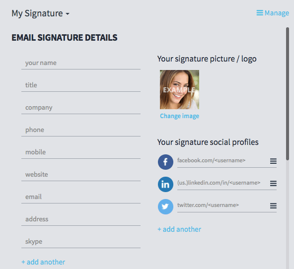 WiseStamp Email Signature Elements Image