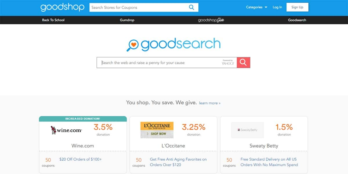 20 Best Coupon Sites GoodSearch